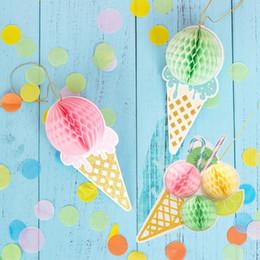 Decoraciones colgantes para fiesta de cumpleaños online-Hawaiian Party Summer Tropical Party Decorations Hanging Honeycomb Ice Cream Luau Beach Kids Happy Birthday Decor