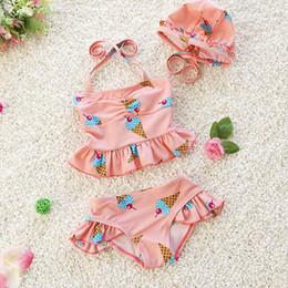 Kind bikini mode online-Kinder Kleidung Mädchen Bademode drei Stücke Kind Badeanzug Mode und schöne Rüschen Bademode für Kinder Bikini Baby Kostüme Badeanzug
