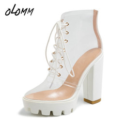 white transparent short Promo Codes - Spring Autumn Summer Women Ankle Sandals Short Boots Transparent Clear PVC Shoes Fashion High Heels Round Toe Platform Lace-up