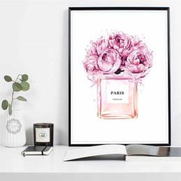 Garrafas de perfume pintadas on-line-Decoração Nordic Abstract COCO frasco de perfume e arte da parede da lona da flor N5 Parede da pintura quadros modernos para sala de estar