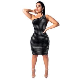 516dc2ec3a0 Women Sexy One Shoulder Diamonds Dress Irregular Backless Sheath Bodycon  Mini Club Party Dress Female Fashion Outfits