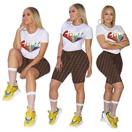 vestiti glitter Sconti Donna F Lettera Tuta Glitter Paillettes Lettere T-shirt a maniche corte Tops Shorts Outfit Joggers Set 2 pezzi Abbigliamento sportivo Abbigliamento estivo A41107
