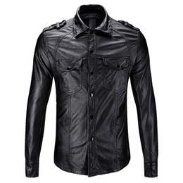 chemise en cuir noir pour hommes Promotion 2019 nouvelle moto chemise noir mince en cuir décontracté mode designer blouson pu épais vestes chaudes streetwear mens taille de manteau