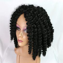 perruques blanches noires Promotion Perruque noire et bouclée courte à haute fibre sythétique de cheveux bouclés et belle perruque pas cher pour les femmes noires / blanches 2019 nouvelle mode