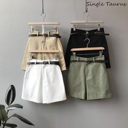 calções de noite sexy adulto Desconto Verão Ampla Perna Shorts Mulheres Estilo Preppy Causal Solto Shorts com Cinto Clássico De Cintura Alta Verde Feminina Senhoras para As Mulheres