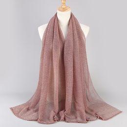 bufandas de gasa de color Rebajas Chales colores musulmanes viscosa bufanda de la cachemira gasa de las mujeres del hijab largo sólido chal de cachemira bufanda principal y pañuelos Femme 20 colores