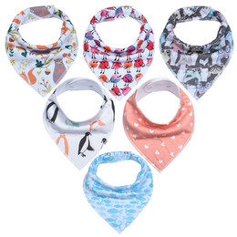 free baby packs Promo Codes - 6-pack Funny Newborn baby bibs set 100% cotton baby feeding burp cloths baby Bandana Drool Bibs forDrooling and Teething