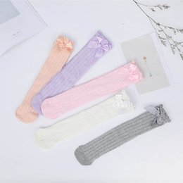 wholesale infant bubbles Promo Codes - Children Solid Color Socks Baby Mesh Bow Bubble High Socks Thin Section Soft Infant Designer Socks 48