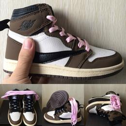 zapatillas azul bebé Rebajas Bebé Niños Designer Shoes Zapatos Medio Brown Travis Scott baloncesto de los zapatos corrientes de las zapatillas de deporte Cactus Jack Niño Niña Niño Trainer Azul Amarillo