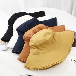 2019 cappelli di moda corea Top quality Summer sun women Cappello secchiello Cotone moda berretto a tesa larga per Burr Cappello outdoor traspirante pescatore korea unisex sconti cappelli di moda corea