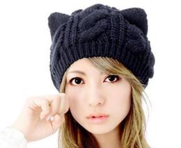 Корейский шерстяной берет онлайн-Новый южнокорейский шляпа, женская осень берета, зима трикотажная шапка, день кот, кошка уха шерсти колпачок Бесплатная доставка L542