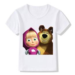 2019 ours t-shirt enfant Enfants 3D Masha Et L'ours Imprimer T-Shirts Enfants D'été Tops Filles Garçons À Manches Courtes T-shirt De Dessin Animé Bébé Vêtements promotion ours t-shirt enfant