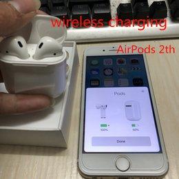 Chargeur sans fil iphone plus en Ligne-Le plus récent AirPods Génération 2 Recharge sans fil Écouteurs intra-auriculaires pour écouteurs sans fil Bluetooth Casque avec fenêtre escamotable