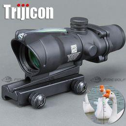 Punto rojo vista para la caza online-Foco de caza ACOG 4X32 Óptica de fibra real Punto rojo Iluminado Vidrio de Chevron Grabado Grabado Táctico Vista óptica