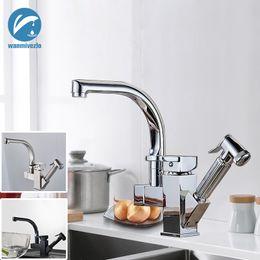 Tirando il tubo online-Rubinetti da cucina con doppio beccuccio estraibile Rubinetti da cucina per spruzzatore da doccia con rotazione a 360 gradi montati su piattaforma con tubi per acqua calda e fredda