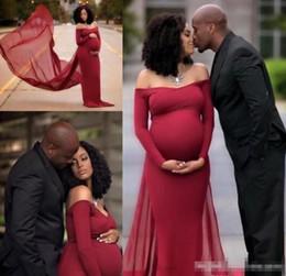 3c7d157e30f2 2019 abiti promozionali a buon mercato maternità Abiti da sera di maternità  rosso scuro sexy guaina