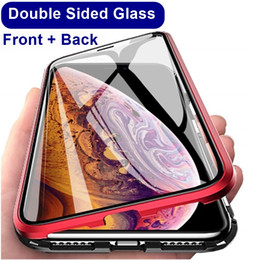 100PCS magnetica Telaio adsorbimento della copertura del metallo della cassa di vetro temperato Double Side per iPhone 11 Pro Max 6 6s 7 8 Inoltre Xr Xs Max da apple iphone 4s blu fornitori