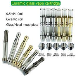 2019 cigarro de cigarro Melhor 100% cartucho de vidro cerâmico original vape 4 orifício de entrada * atomizador 510 vaporizador cartucho .5ml 1ml tanque de óleo espesso com ponta de metal vidro