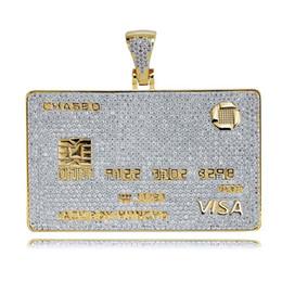 Мужские бриллиантовые подвески онлайн-Iced Out VISA Diamond Кредитная Карта Ожерелье 18 К Позолоченные Мужская Хип-Хоп Bling Подарок Ювелирных Изделий