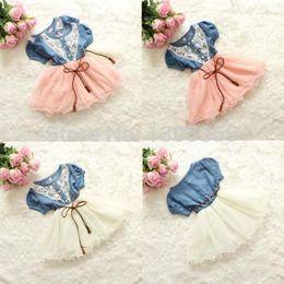 vestidos cheios da menina de flor de tule Desconto Atacado-2015 Hot Coreano Meninas Crianças Flower Lace Belt Denim Tulle Vestido Completo Princesa