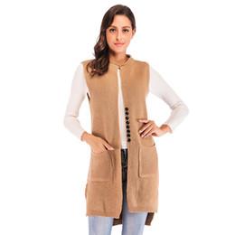 2019 tejer chalecos largos Chaqueta de punto larga de la ropa de las mujeres de la moda del otoño con el manto sin mangas del chaleco JR1001 del ms rebajas tejer chalecos largos