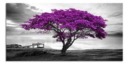 pinturas grandes arboles Rebajas Grande azul púrpura árbol negro y blanco lienzo arte de la pared para la sala de estar moderna impresiones decoración listo para colgar para el hogar dormitorio oficina decoración de la pared