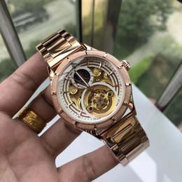 Gürtel mechanische uhr online-Marken-Designer-Herren-Uhr Patk Luxus mechanische Uhr Stahlband Modetrend Tourbillon hohlen Philip Männer Casual Uhren beste Geschenk