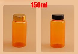 2019 garrafas de laranja 100 PCS 150 ML / 150CC Cor Laranja Translúcido Garrafas De Plástico PET Para Vitaminas / Pó / Comprimidos / Caspules Com Tampas de Metal Dourado / Preto desconto garrafas de laranja