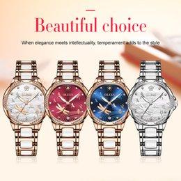2020 relógios de faísca OLEVS Luxo Diamonds Assista espumantes das mulheres de aço inoxidável de cerâmica pulseira de pulso mecânicos Movimento Luminoso Relógios impermeáveis desconto relógios de faísca