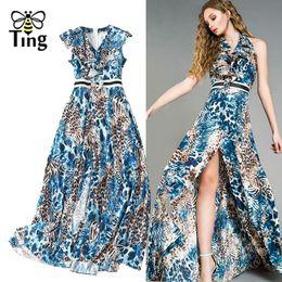Leopardo blu stampa abiti online-Tingfly 2019 Nuovo Desigh Blue Leopard Print Ruffles Long Dress Ruffles Slim Sexy Split Summer Maxi Dress Casual Work Plus