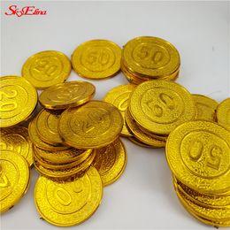 moedas de ouro de brinquedo Desconto Fontes Coins 100pcs ouro tesouro Capitão Partido Pirata Finja Coins Treasure Chest Toy Crianças Wedding Chip Decoração 7Z