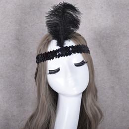 Penas de avestruz para fitas on-line-Ostrich Feather Headband cocar Partido Festival Para Flapper Feather Headband Flapper Traje Charleston Lantejoula 50 p