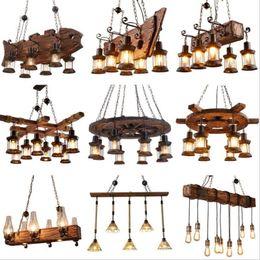 lâmpadas antigas Desconto Retro Bar Industrial Lustre de Vento Loft Sólido barco velho Madeira luminária Personalidade Restaurante Bar Industrial Coffee Shop