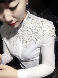blusa blanca de manga corta Rebajas 2018 Summer Fashion Bead Work Short Sleeve Stand Collar Camisas de algodón blanco Mujeres Bead Work Tops de algodón Blusas de perlas