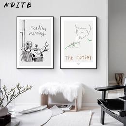 cartaz abstrato preto branco Desconto Imprimir Wall Art Contemporary Drawing Linha Poster Black White Abstract Nordic lona simples moderno pintura Imagem decorativa