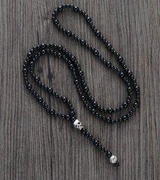 rosario di mens di perline nere Sconti Collana uomo qualità onice nero con teschio uomo rosario collana perline paio punk collana gioielli uomo Dropshipping J 190429