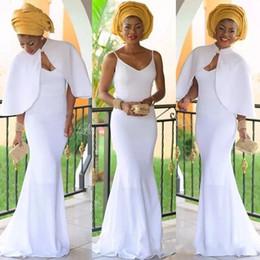 Weiße jacke abendkleider online-2019 Arabisch Nigerian Abendkleider Weiß Frauen Meerjungfrau Abendkleid Mit Jacke Lang Vestidos De Festa Afrikanisches Abendkleid BC0443