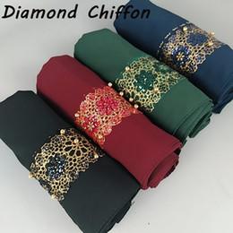 scialle pianeggiante di georgette Sconti Maxi Chiffon Diamond Hijab Plain Bubble Foulard per donne musulmane Foulard Hijab Georgette Shawl Islamic Veils Turban