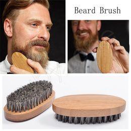 Cepillo de hombres online-Jabalí Bristle Bristle Beard Brush Bamboo Wood Mustache Brushes Anti-estática antideslizante Mustache Brush Men Barba herramienta de peluquería HHA469