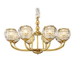 Canada Lampes de lustre en cuivre de style européen villa salon lustres de chambre à coucher salle à manger pendentif lampe américaine mansion restaurant lumières Offre
