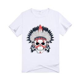 Zucker druck t-shirts online-Gedruckt T-shirt Männer Kurzarm Zier Sugar Skull T Shirts Sommer Casual Baumwolle Tops Tees Mode Streetwear T-shirts Männlich