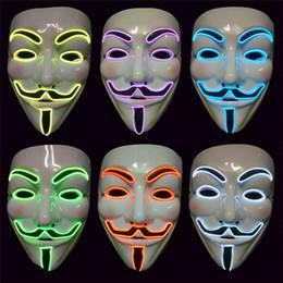 máscara de brilho de festa Desconto Vendetta EL fio Máscara de Flash Cosplay LED MÁSCARA Máscara Anônima para Glowing dança Carnaval Máscaras Do Partido c425