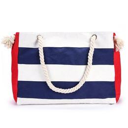Sacs à main rayés blanc bleu en Ligne-Sac à bandoulière en coton rayé bleu et blanc ou blanc blanc avec sac de loisirs