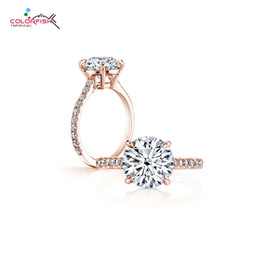 Solitari classici online-Colorfish Classic Four Prong 3 Ct Rotonda Brilliant Cut Engagement Solitaire Anello Sterling Silver Rose Gold Filled Anelli per le donne J190715
