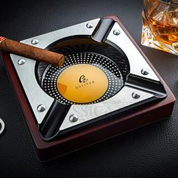 cohiba zigaretten Rabatt COHIBA Red Wood Zigarre Aschenbecher Startseite Metall Aschenbecher Außen Luxus 4 Halter Zigarette Zigarre Aschenbecher für Auto-Zigarren Zubehör SH190926