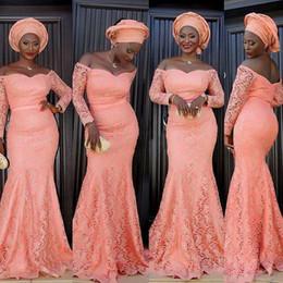 Nigeria Off L'épaule Robes De Soirée Avec Manches Longues Sirène De Pêche En Dentelle De Cou Cou Chérie Formelle Occasion Robes De Bal ? partir de fabricateur