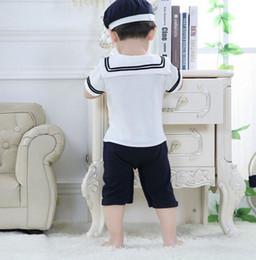 Monos marineros online-Pudcoco Boy Monos 0M-24m al bebé recién nacido marinero Playsuit del niño fijaron el equipo del mameluco de la ropa + sombrero