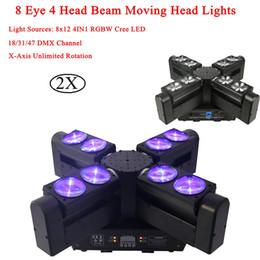 rueda de gobo Rebajas 2 unids / lote LED 8X12W RGBW 4IN1 haz de luz de escenario DMX512 8 ojos 4 cabeza móvil cabeza de luz de discoteca para DJ KTV Bar Party láser luz de escenario