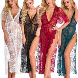 Tsmile Women Plus Size Lingerie Babydoll Lace Splicing Sleepwear Sheer Mesh Chemise Open Front Boudoir Nighty Robe
