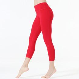 pantaloni rosa capri yoga Sconti Pantaloni yoga Capri Colore rosa Pantaloni yoga tinta unita Pantaloni Leggings da corsa slim Pantaloni sportivi Lady Tight Fitness